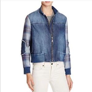 Anthropologie Bella Dahl Plaid Denim Jacket